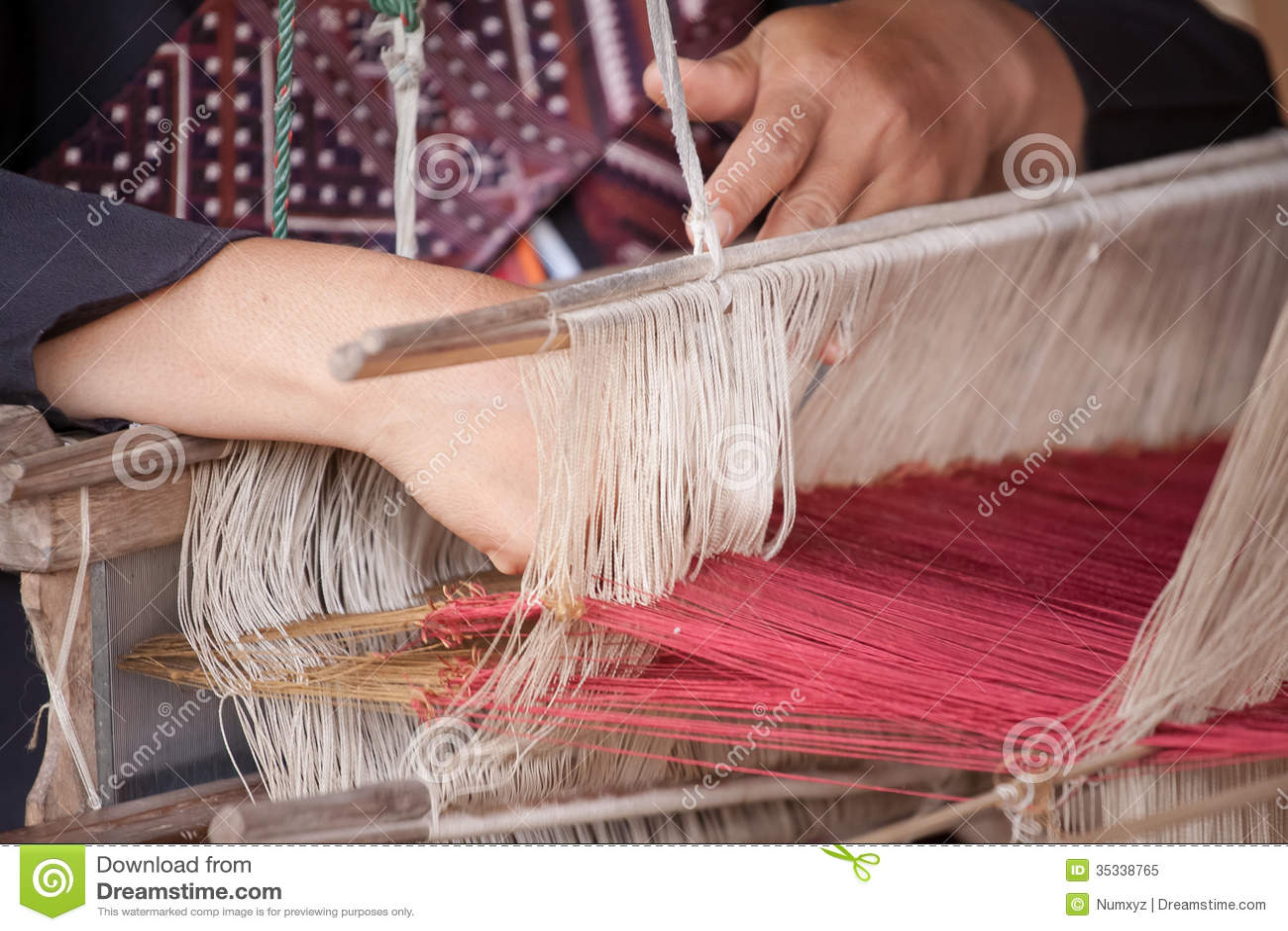 Thai Silk Weaving Royalty Free Stock Photo - Image: 35338765
