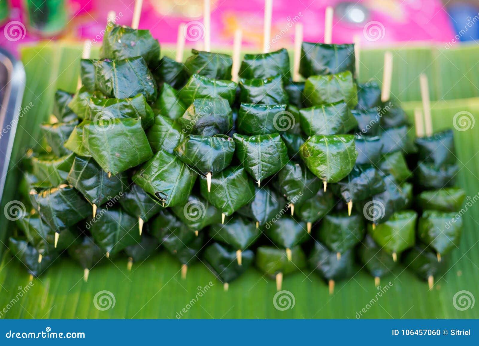 Thai Snack Betel Leaf Skewers Stock Photo - Image of decoration ...
