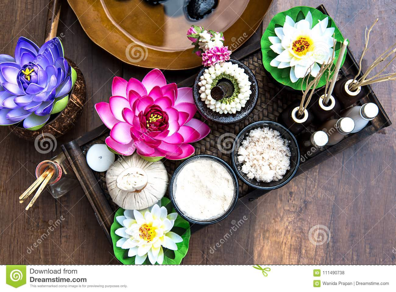 Thai Spa Treatment And Massage With Lotus Flower Thailand Stock