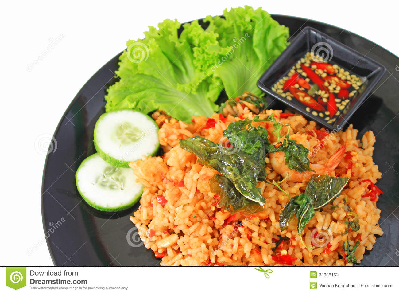 Thai Spicy Food Basil Shrimp Fried Rice Recipe Stock Photography ...