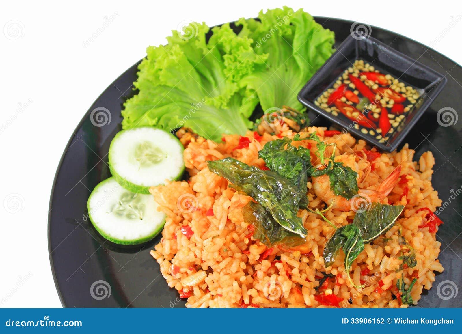 Thai Spicy Food Basil Shrimp Fried Rice Recipe Stock Photography ...