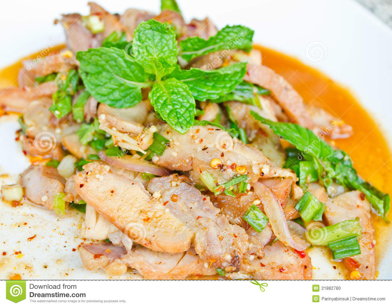 Thai Spicy Grilled Pork Salad Stock Photo - Image: 21882780