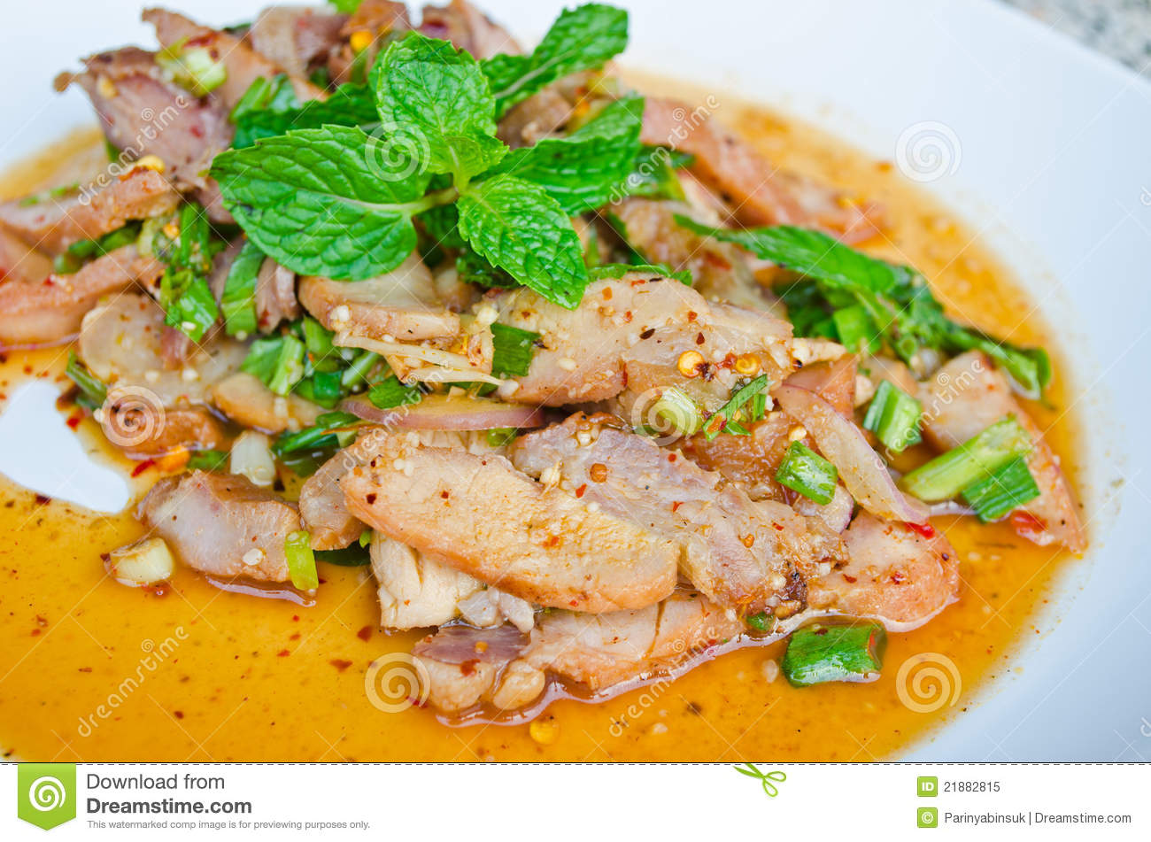Thai Spicy Grilled Pork Salad Royalty Free Stock Photo - Image ...