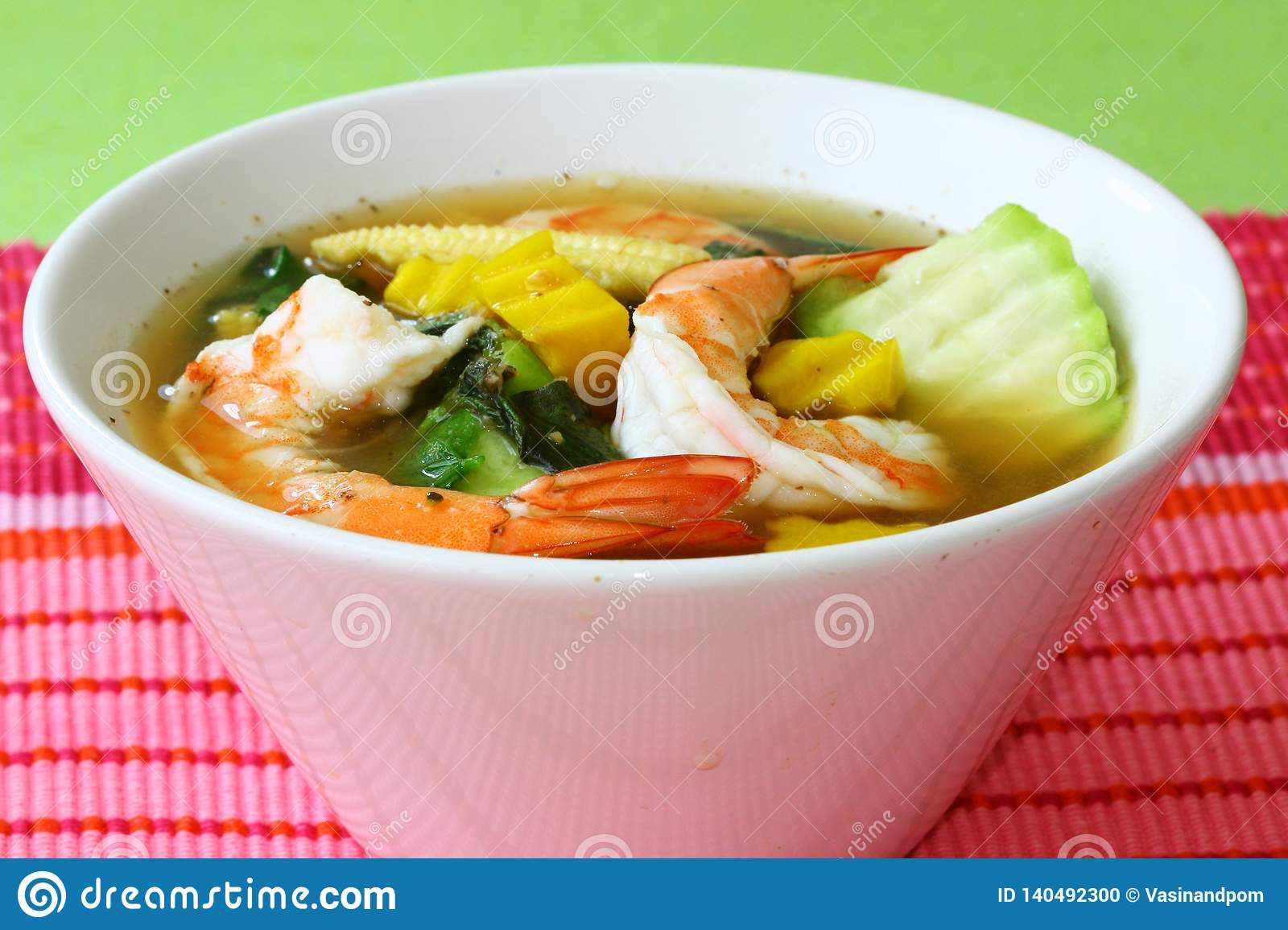 Thai Spicy Mixed Vegetable Soup with Prawns Gang Liang Goong