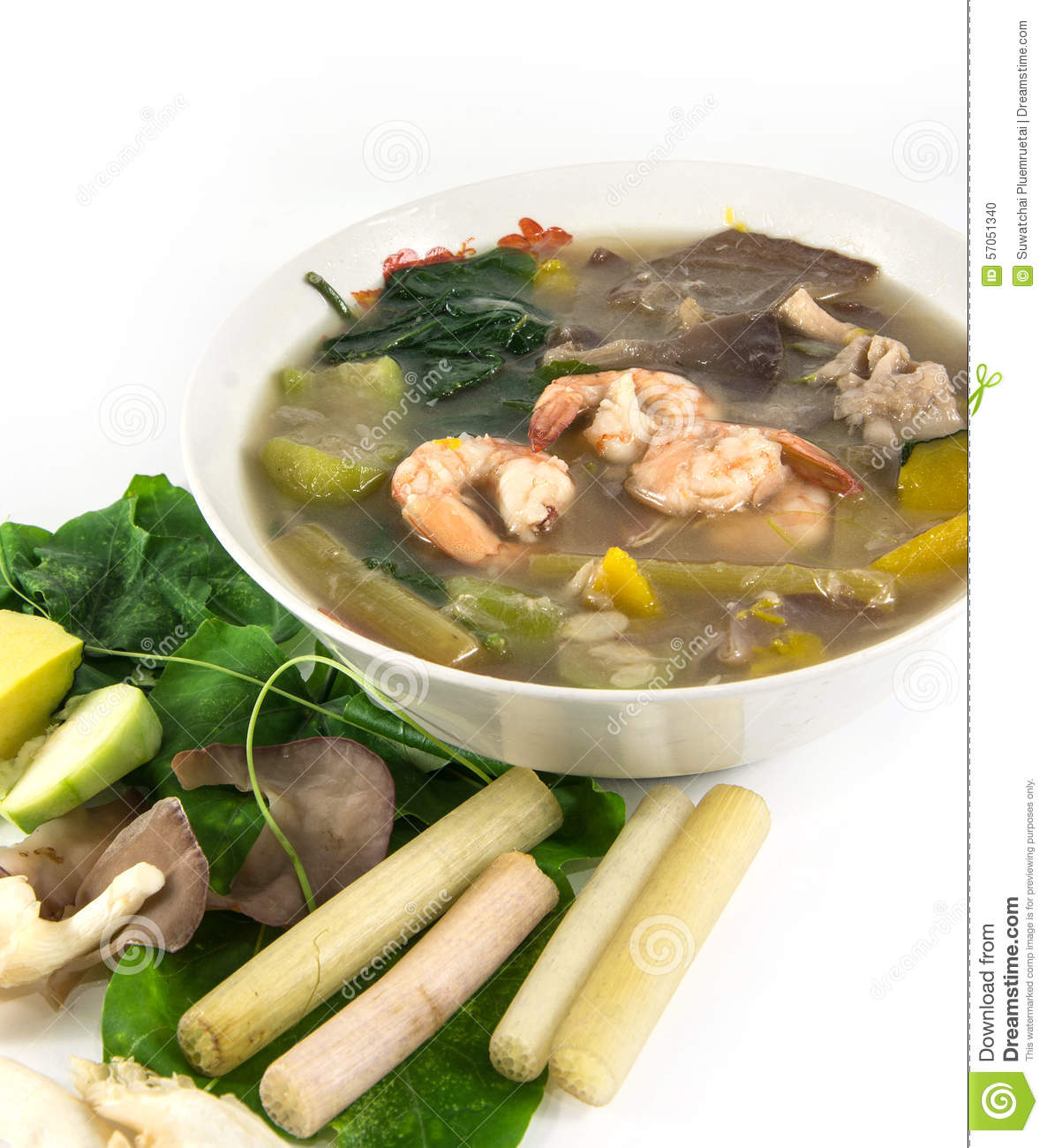 Thai Spicy Mixed Vegetable Soup With Shrimp, Stock Photo - Image ...