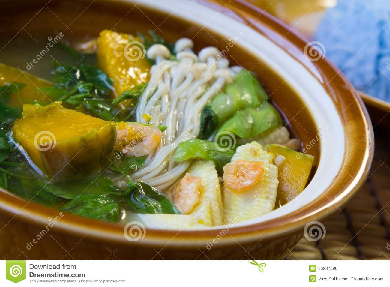 Thai Spicy Mixed Vegetable Soup, Thai Food. Stock Photo - Image ...