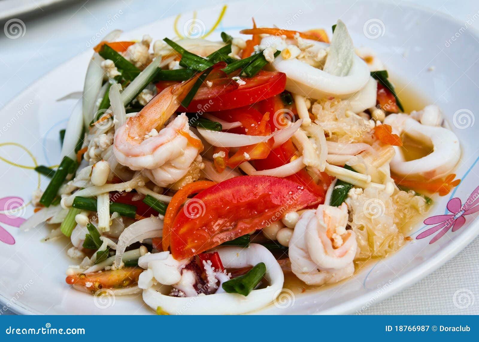 Thai spicy seafood salad.