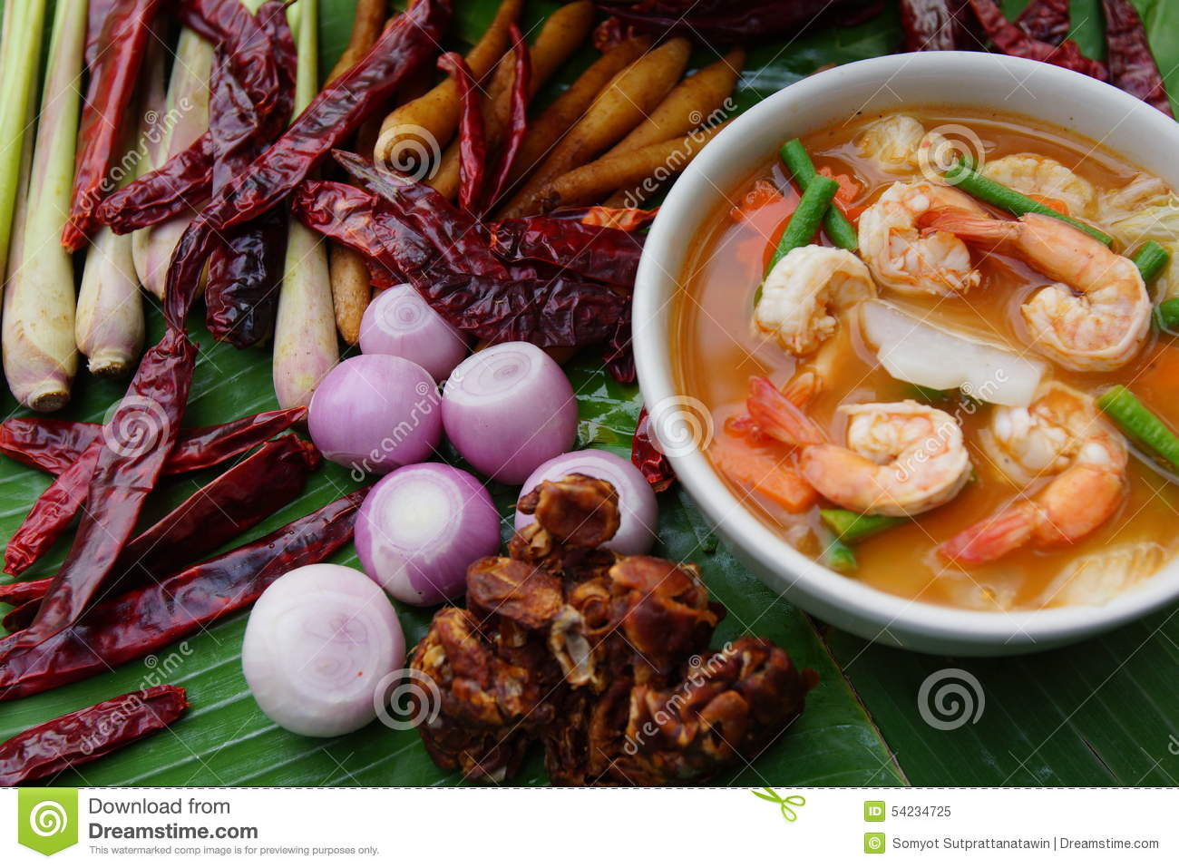 Thai spicy soup with red curry and shrimp