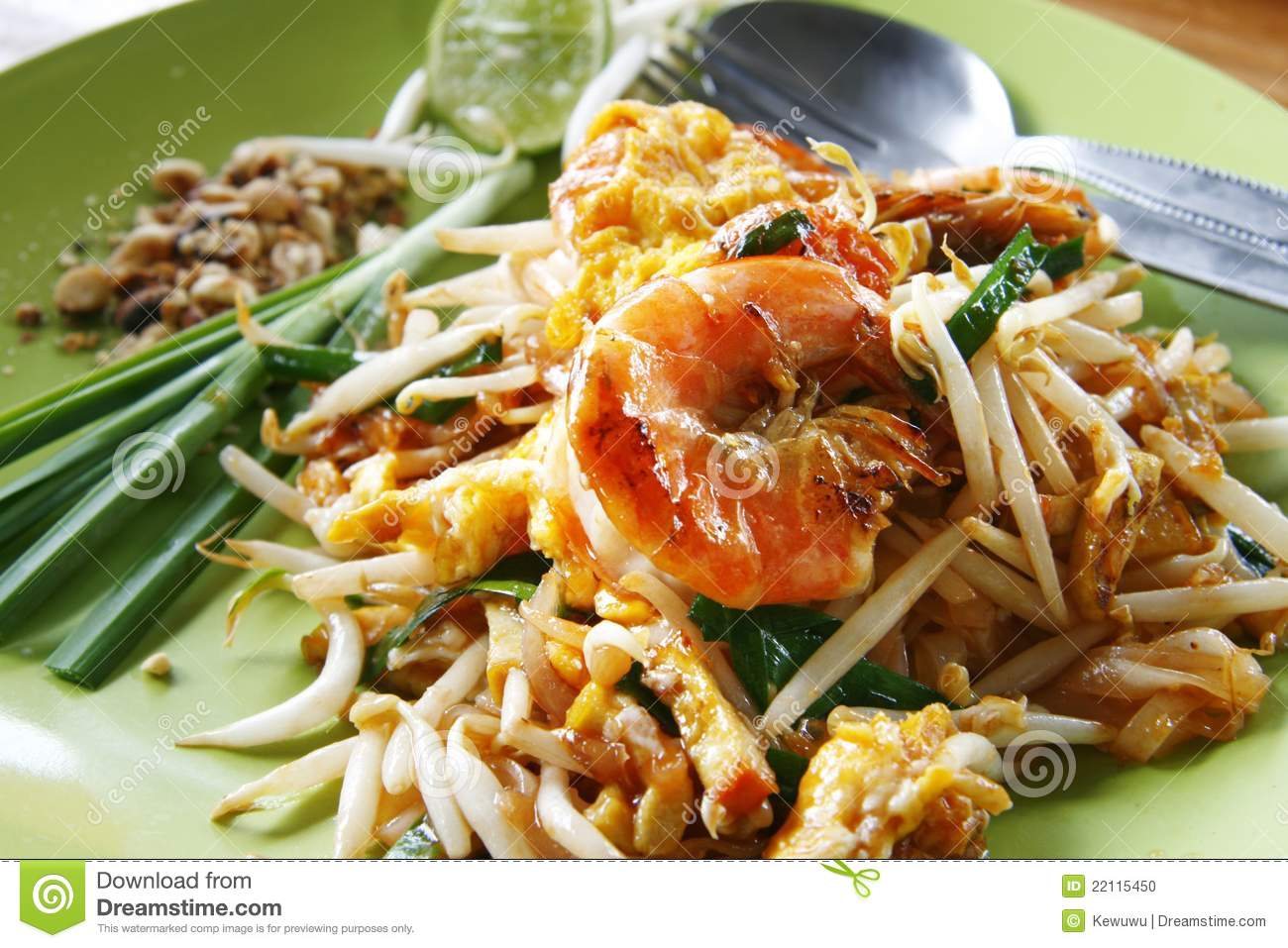 Thai Stir-fried Rice Noodles With Fresh Shrimp Stock Photo - Image ...