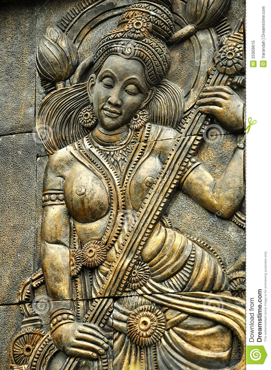 Thai stone carving depict angle play music royalty free