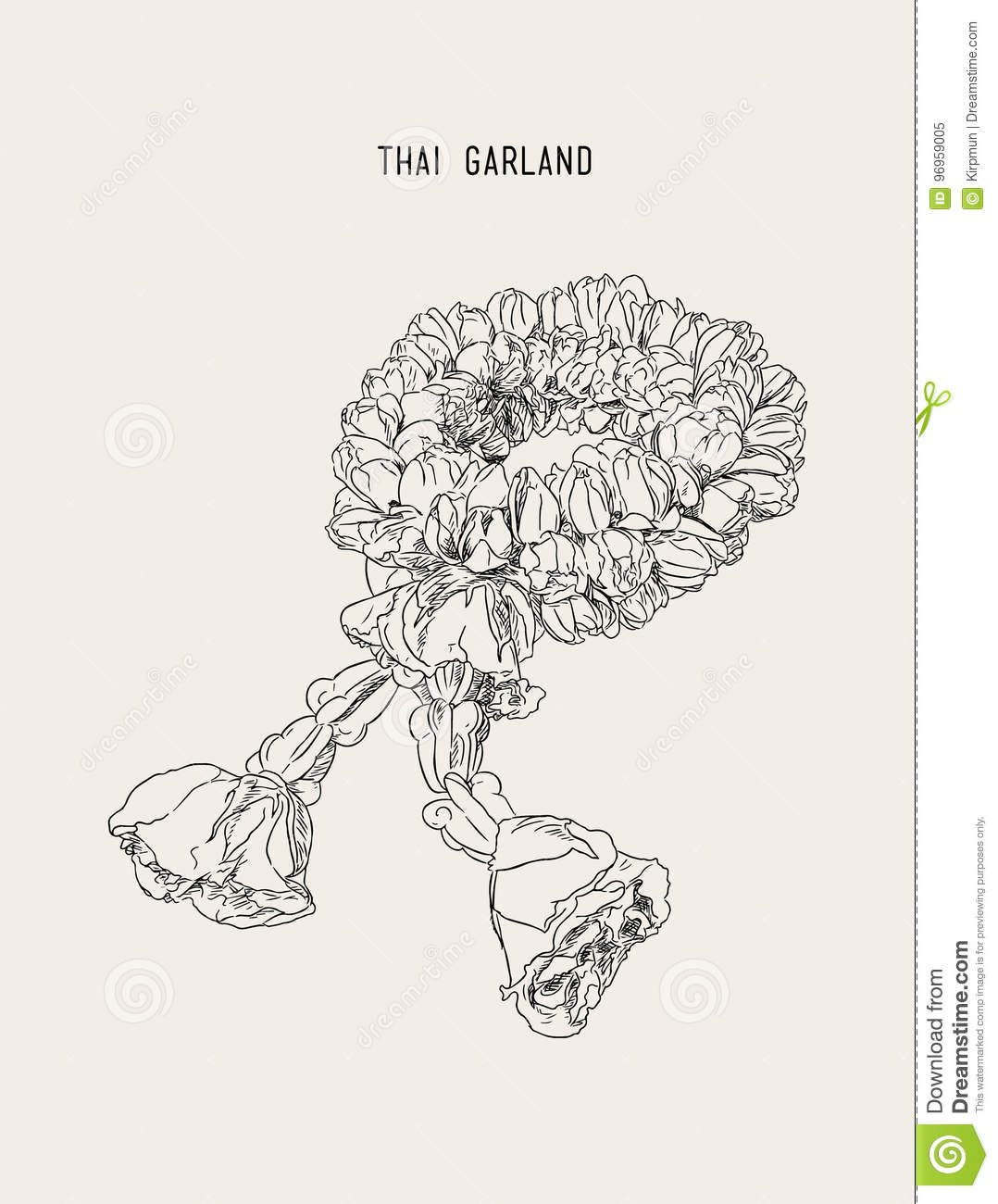 Thai Style Bouquet Use In Traditional Hand Draw Sketch Vector