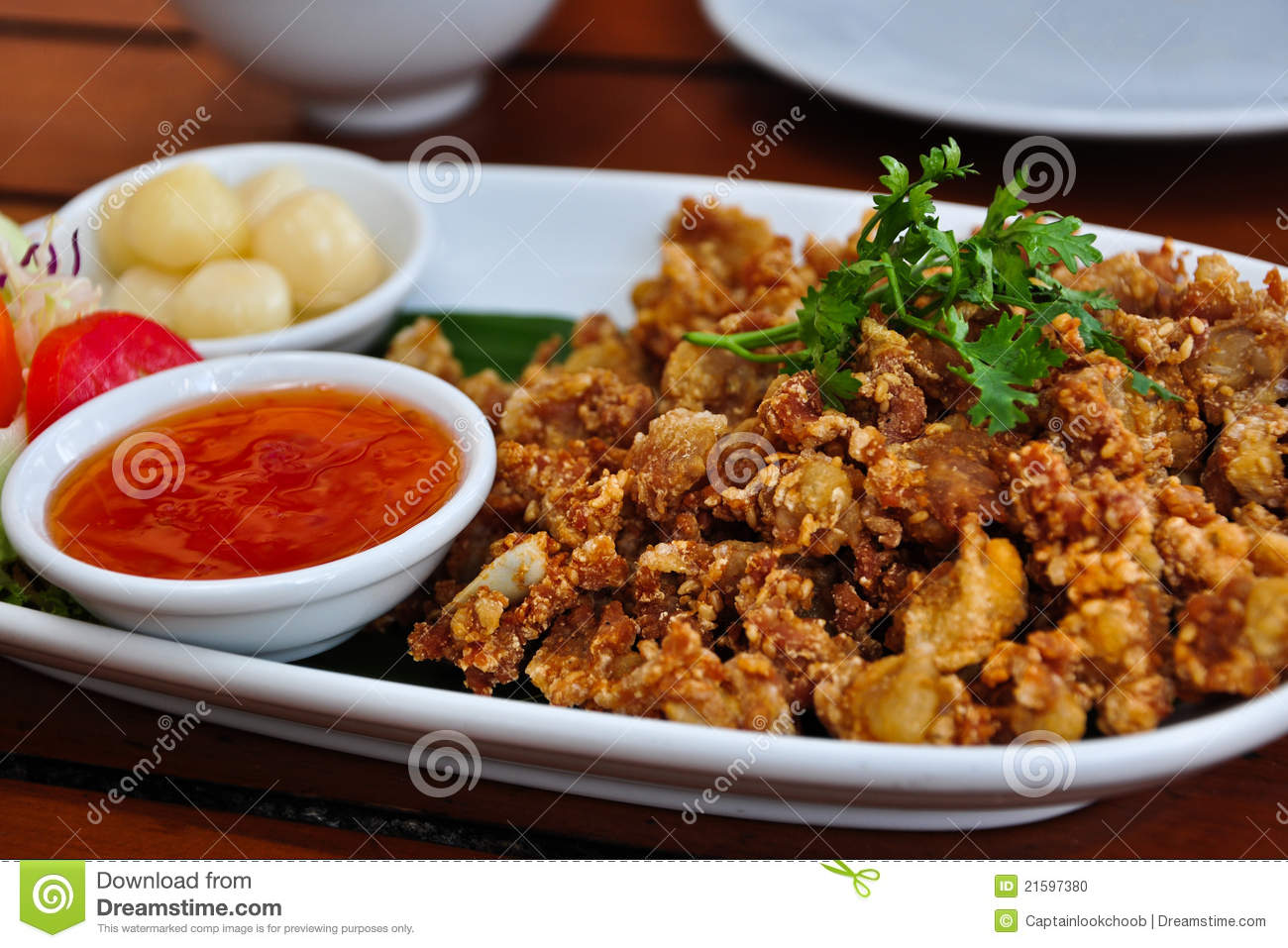 Thai Style Deep Fried Chicken Stock Photo - Image: 21597380