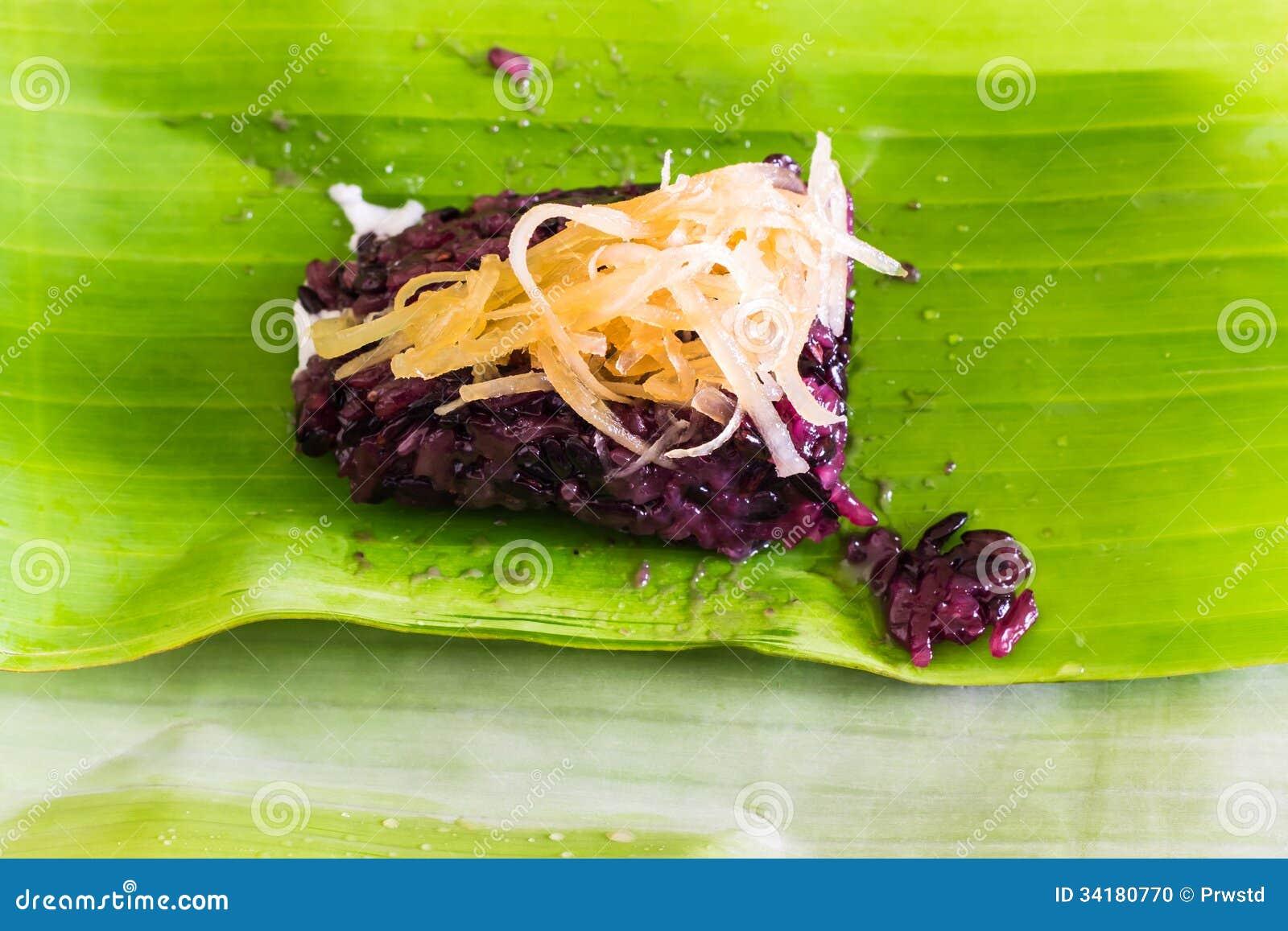 thai style dessert on banana leaf stock photo image. Black Bedroom Furniture Sets. Home Design Ideas