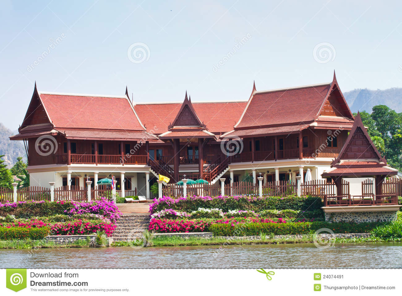 Thai style house stock image image 24074491 for Thai modern house style