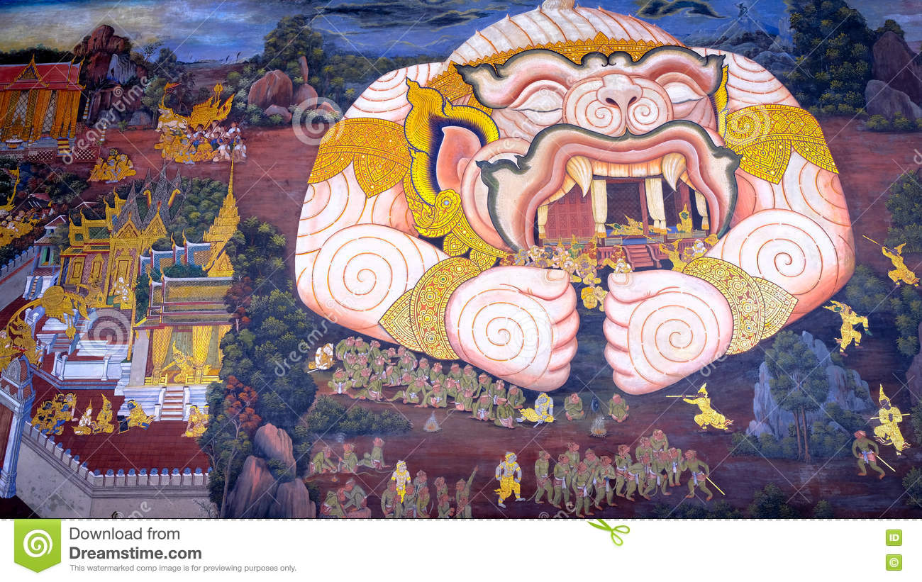 Thai Style Painting Art Old (1931) Of Ramayana Story On The