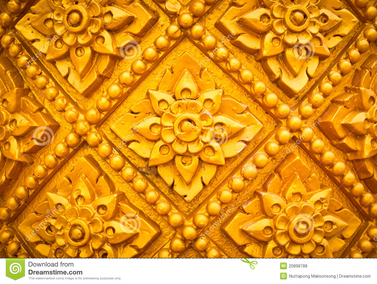 thai style pattern design handcraft on wood stock photo