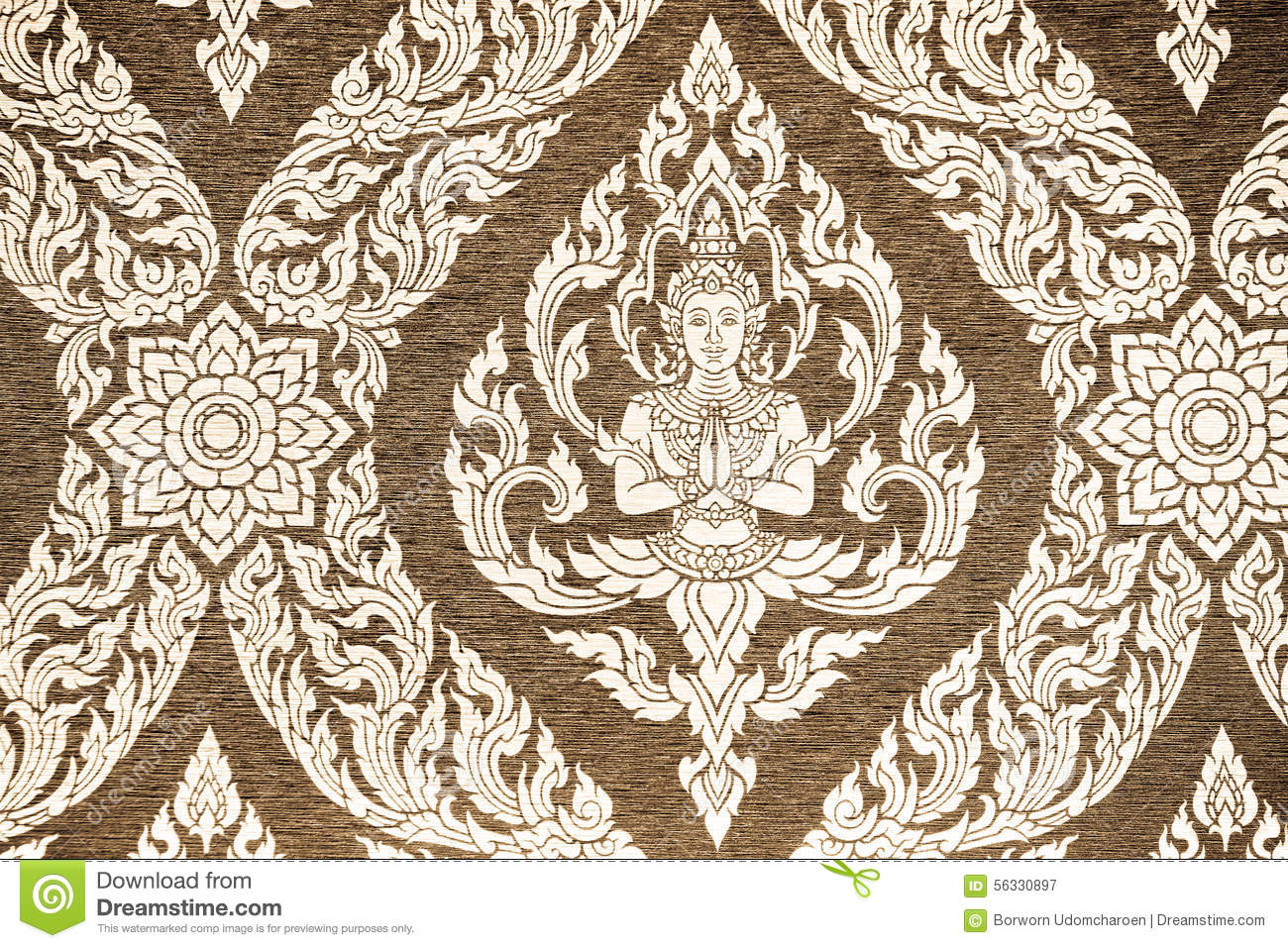 Thai Style Pattern Wallpaper Stock Photo Image 56330897