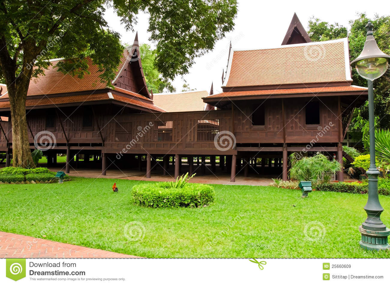 Thai style traditional wooden house royalty free stock for Free thai house plans