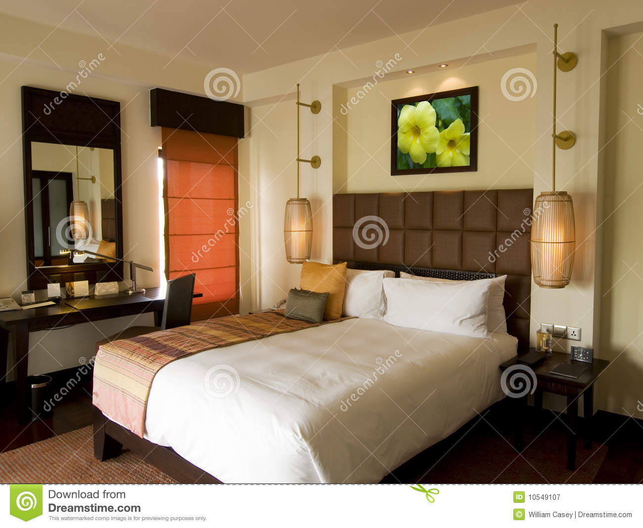 Thai style tropical hotel bedroom royalty free stock for Style hotel