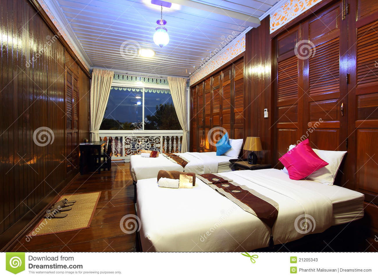 Thai Style Tropical Hotel Bedroom Stock Image Image