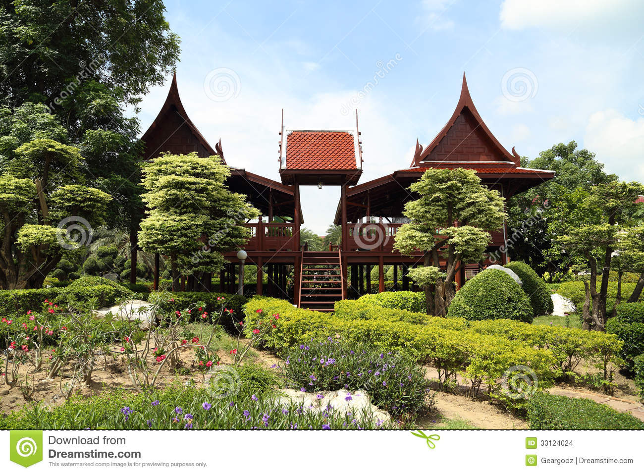 Thai style wooden house stock images image 33124024 for Thai classic house