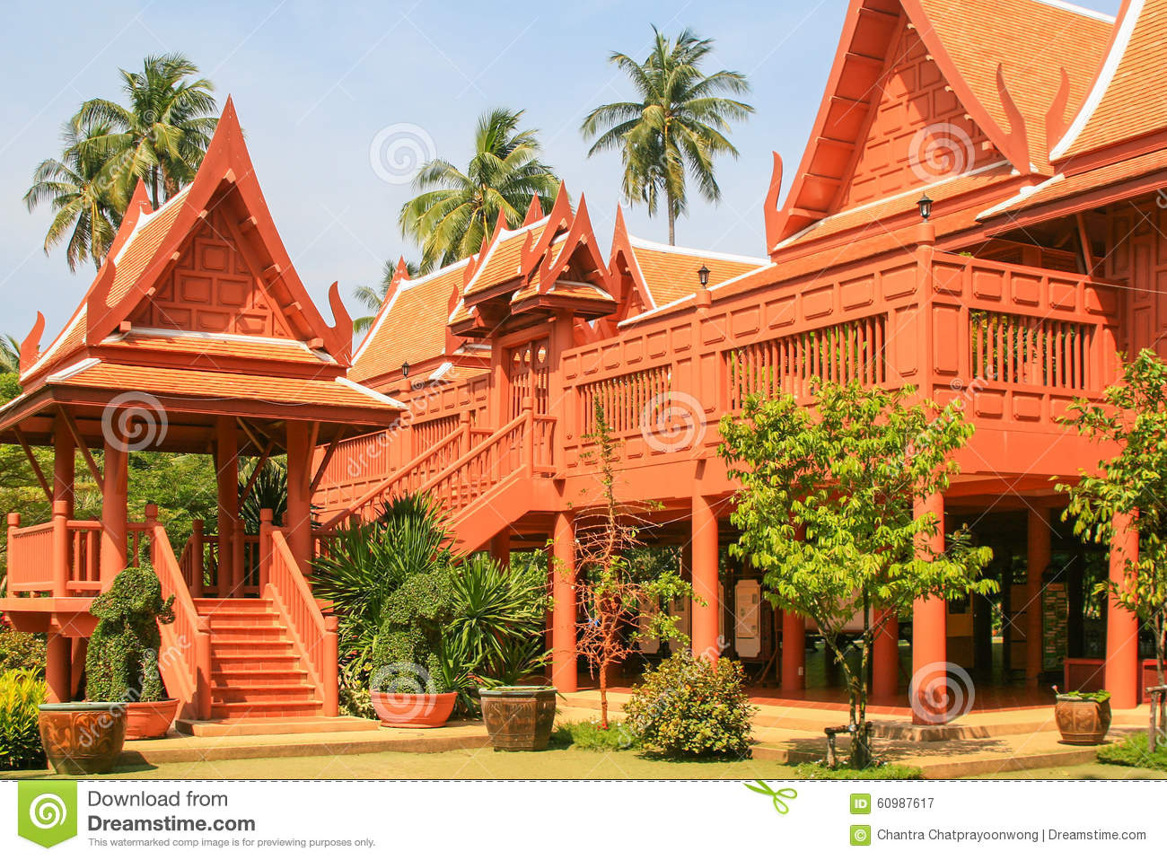 Thai style wooden house stock photo image 60987617 for Thai classic house