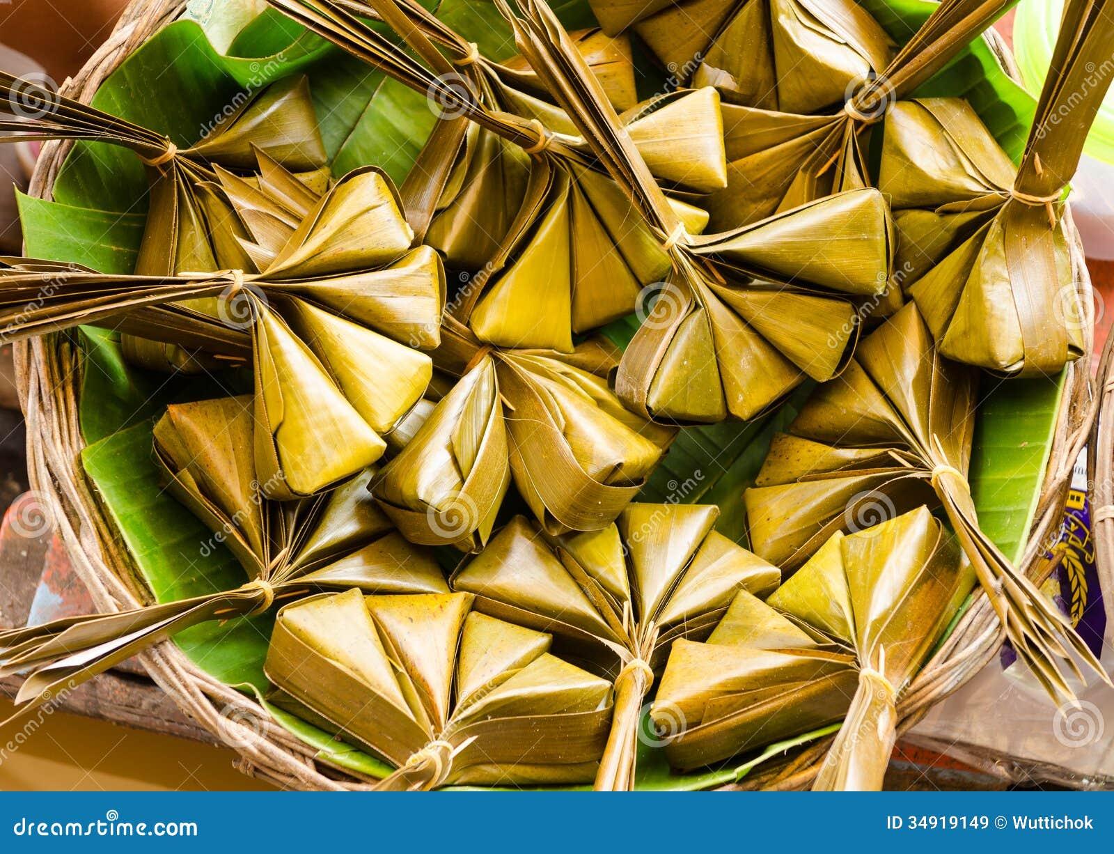 thai sweet dessert steamed in banana leaf stock image. Black Bedroom Furniture Sets. Home Design Ideas