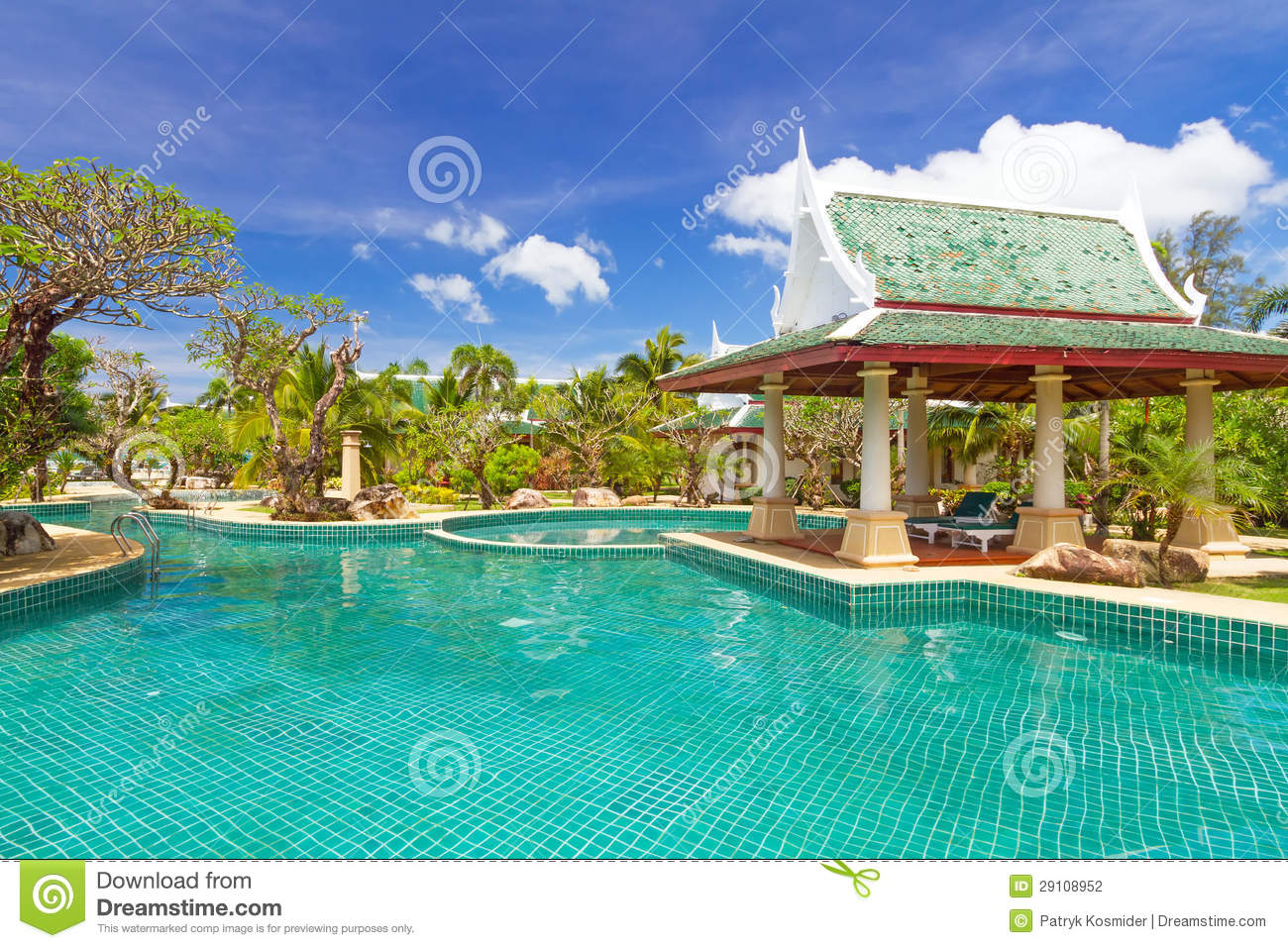 Thai swimming pool scenery stock photography image 29108952
