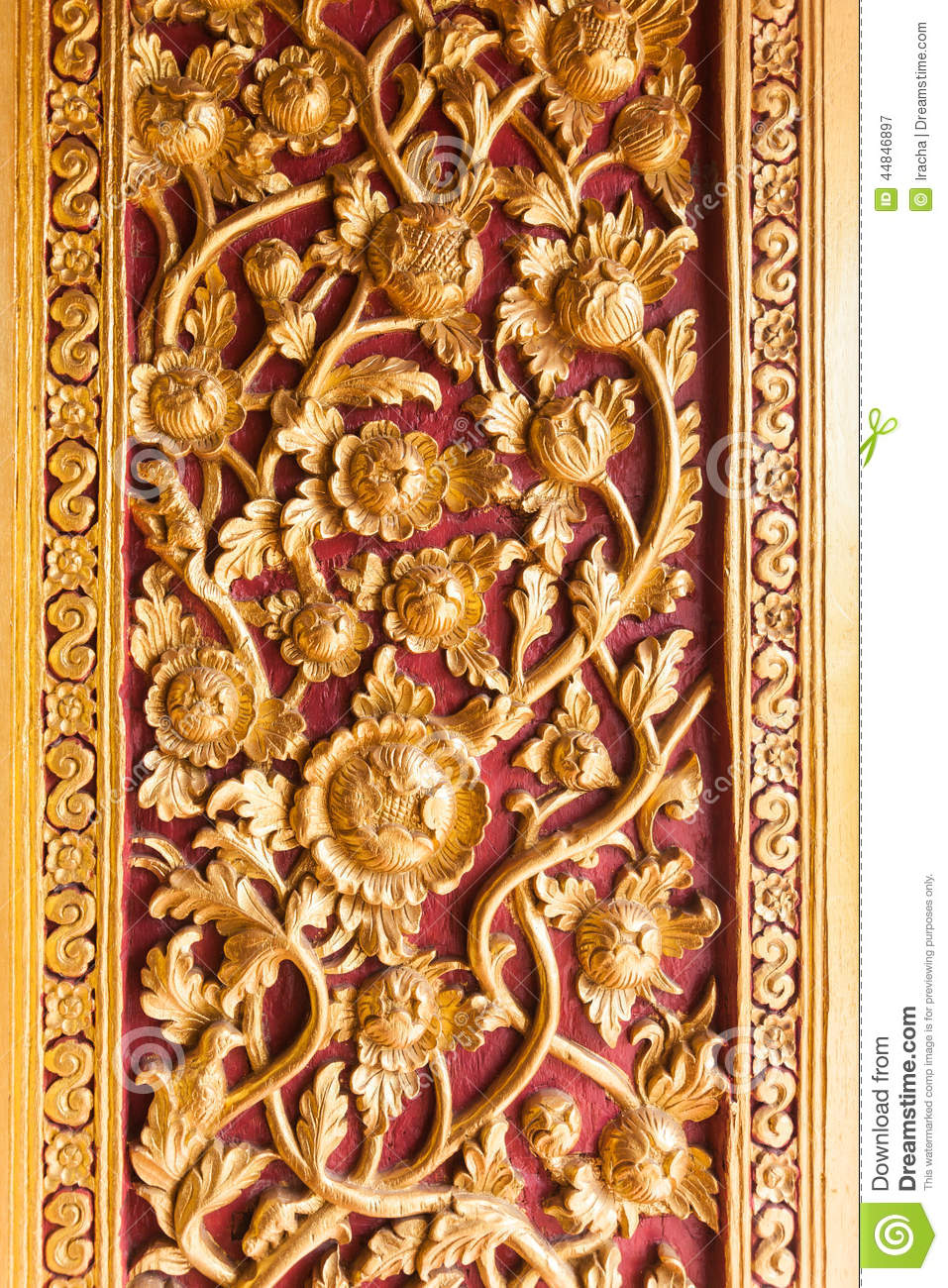 Thai temple door decoration with golden flower stock photo for Ancient decoration
