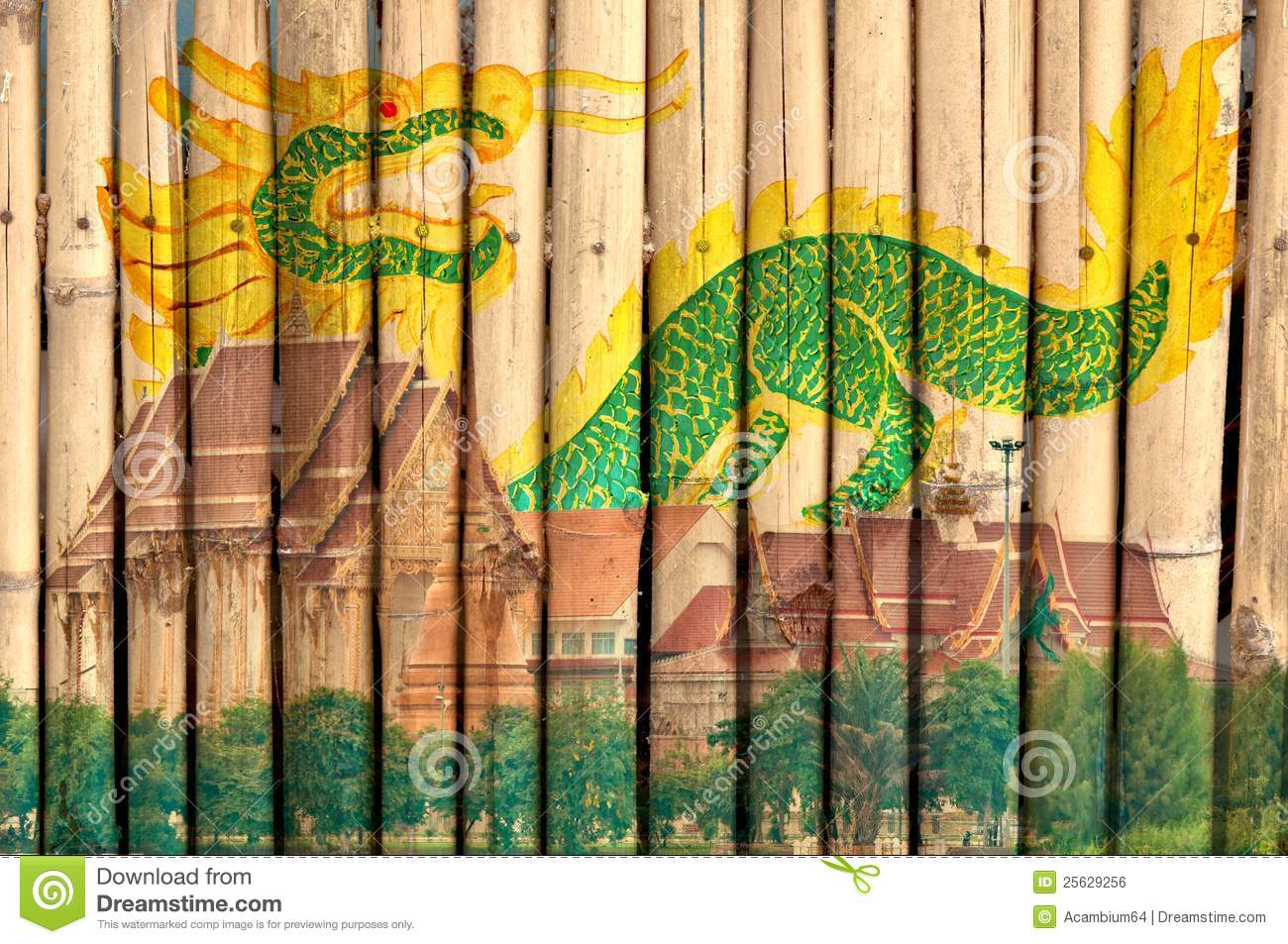 Thai Temple And Dragon Painting On Bamboo Fence Royalty