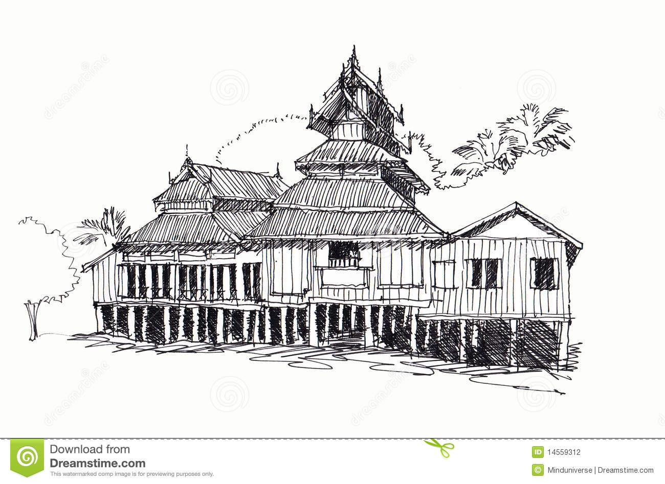 Thai Temple Sketching Stock Illustration Illustration Of