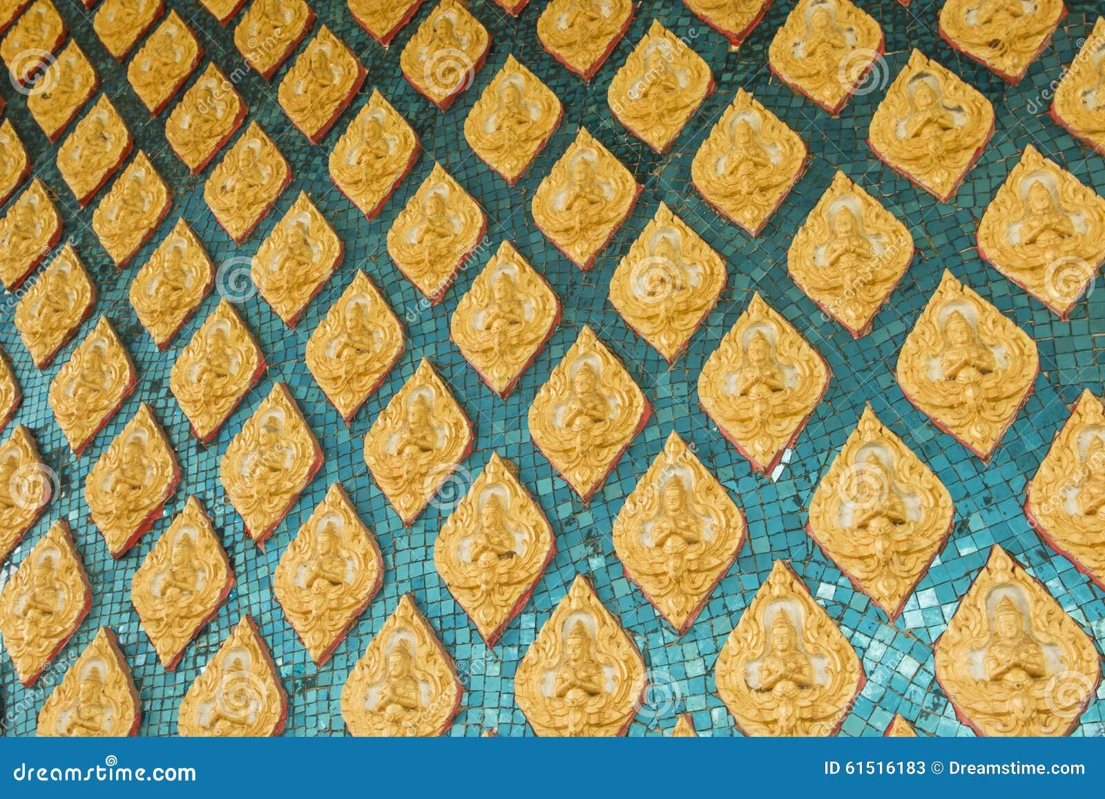Thai Temple Wall Art Design Stock Image - Image of asian, close ...