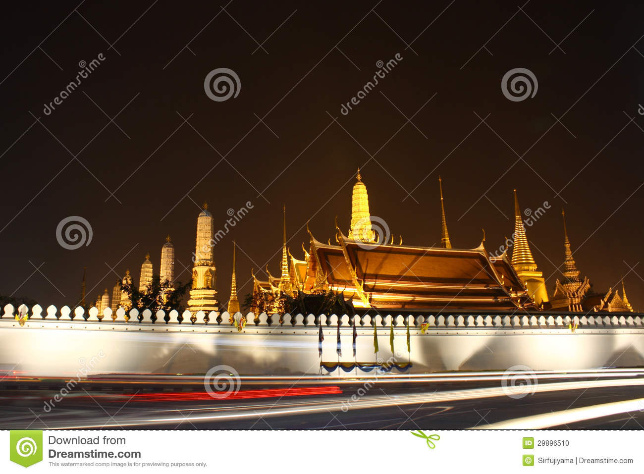 Thai Temple At Night Stock Photo - Image: 29896510