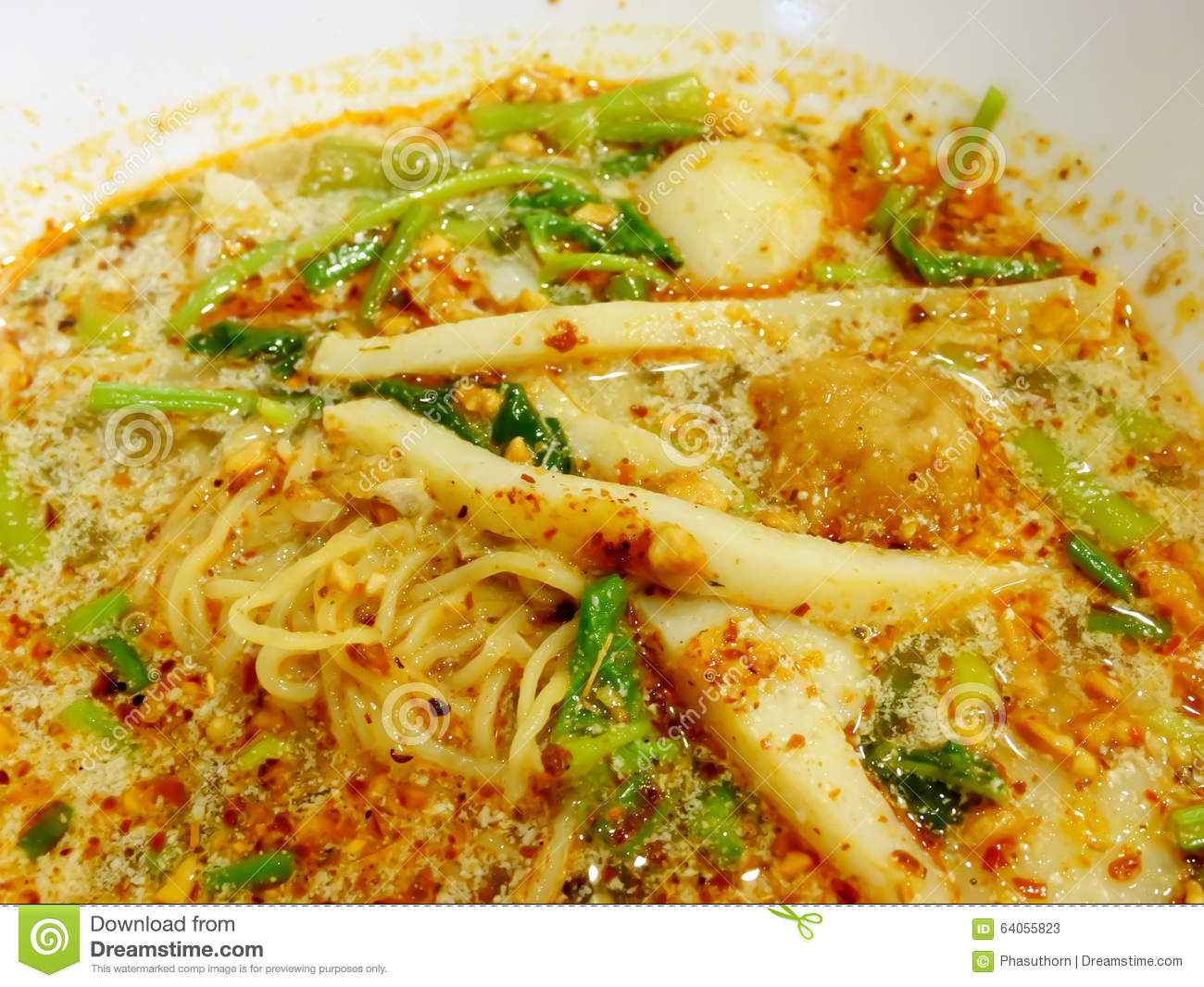 Thai tom yum spicy egg noodle soup with fish ball stock image thai tom yum spicy egg noodle soup with fish ball forumfinder Gallery