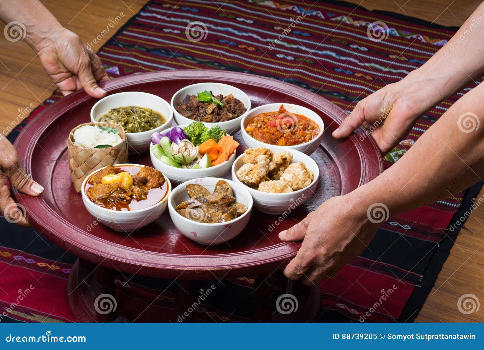 Thai traditional food dinner set called `Kantoke Dinner`