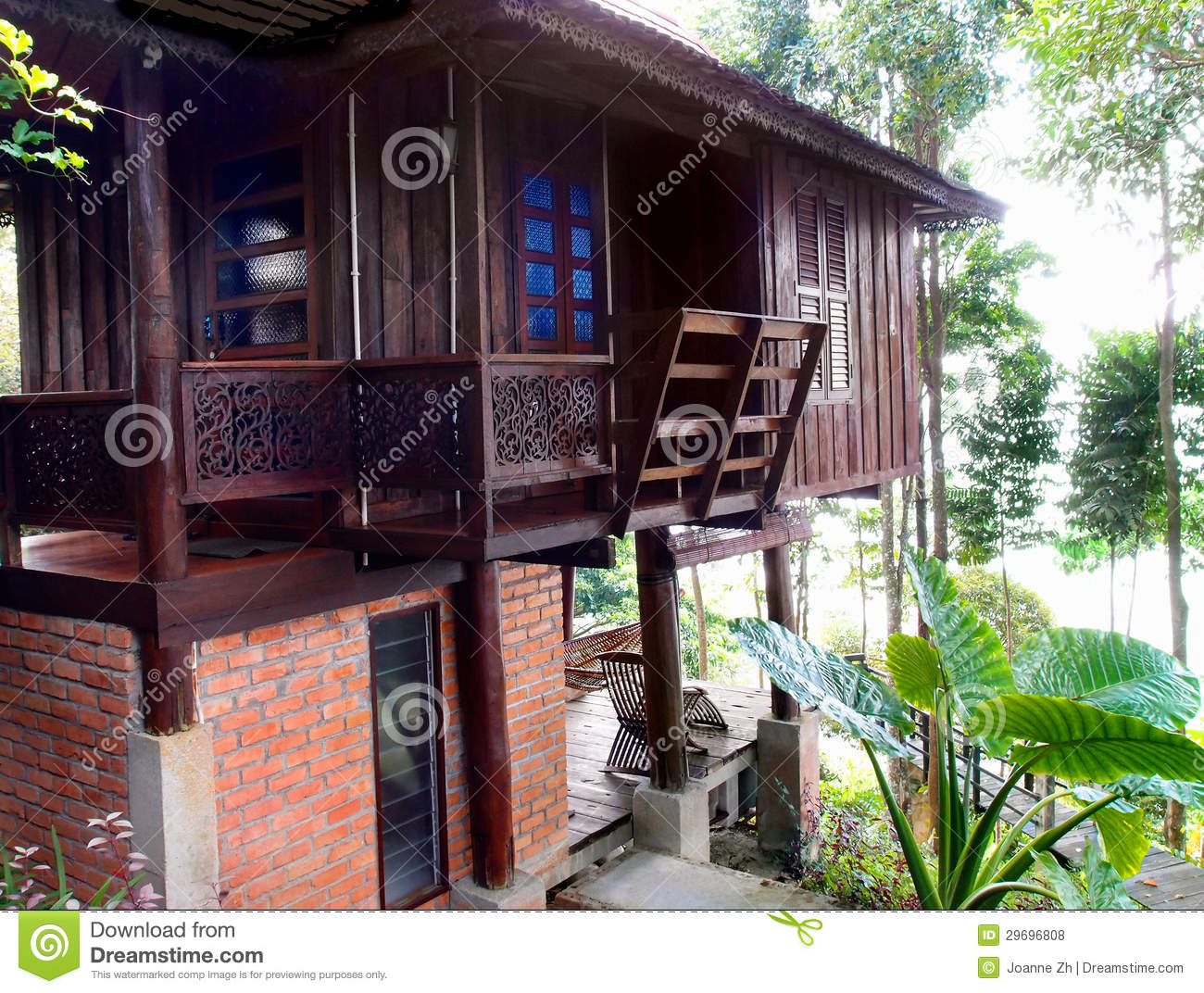 Thai Traditional Antique Wood House Royalty Free Stock