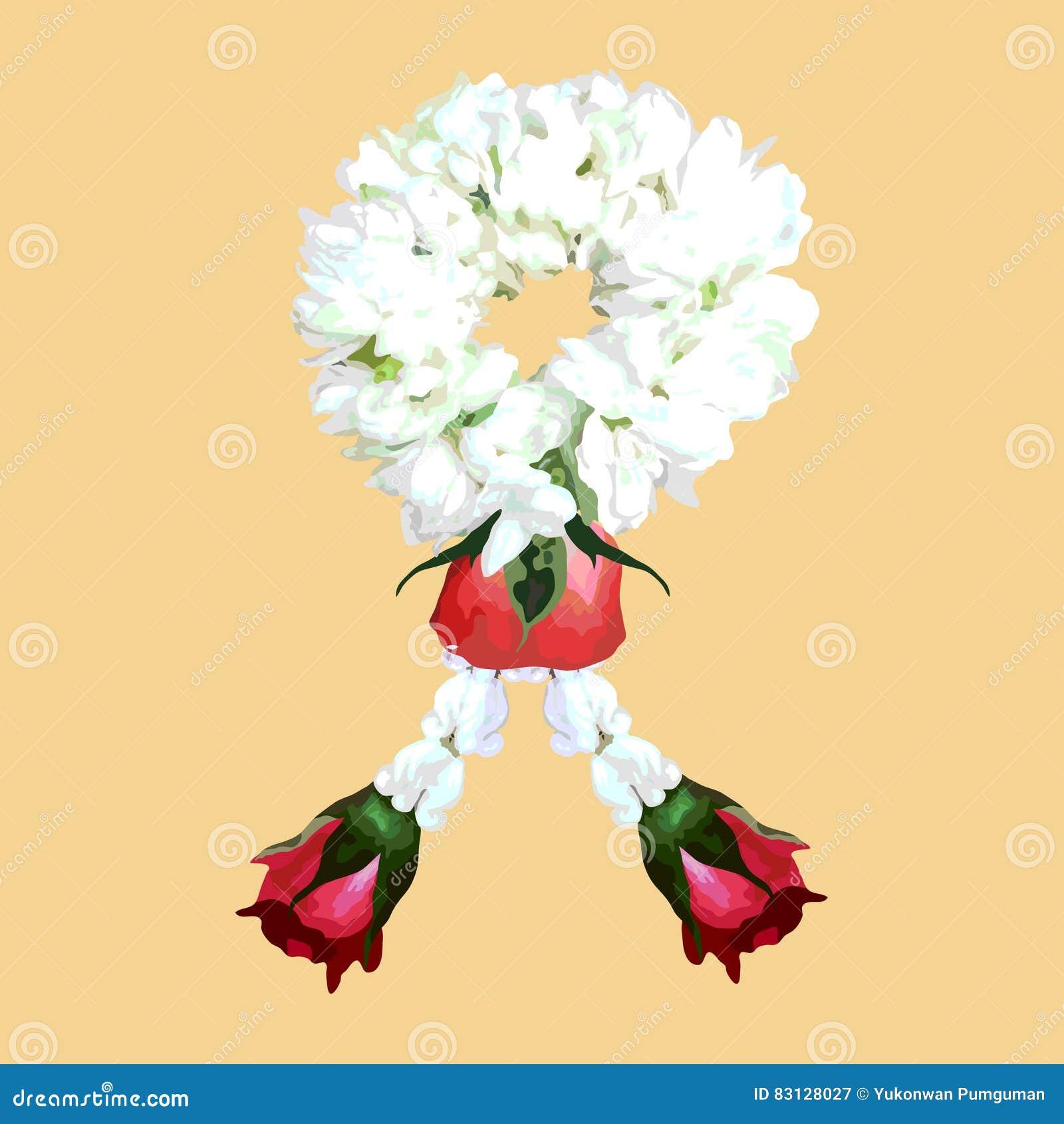 Thai Traditional Jasmine Flower Garland Illustration Vector
