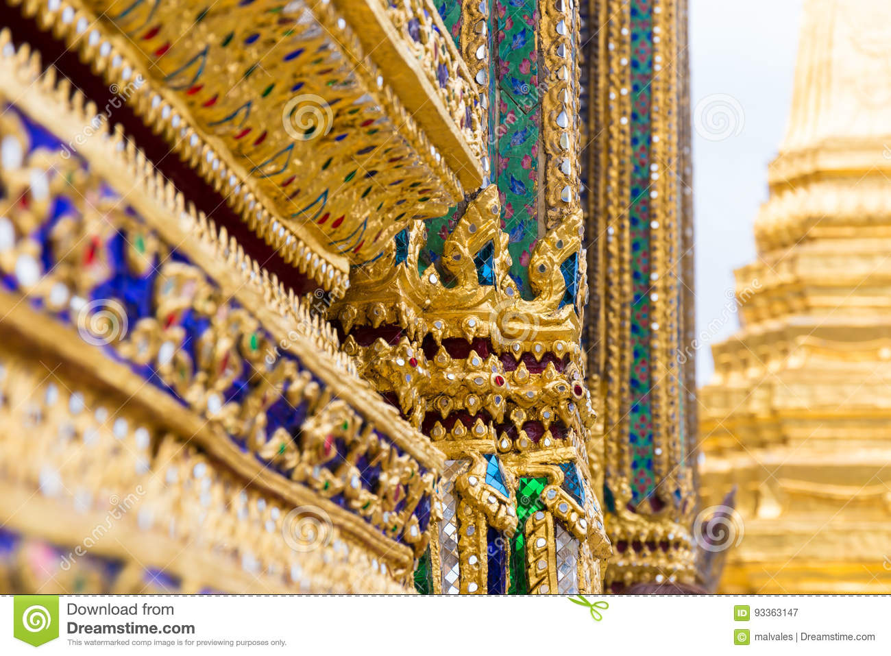 Thai Traditional Mosaic Art Stock Image - Image of decor, background ...