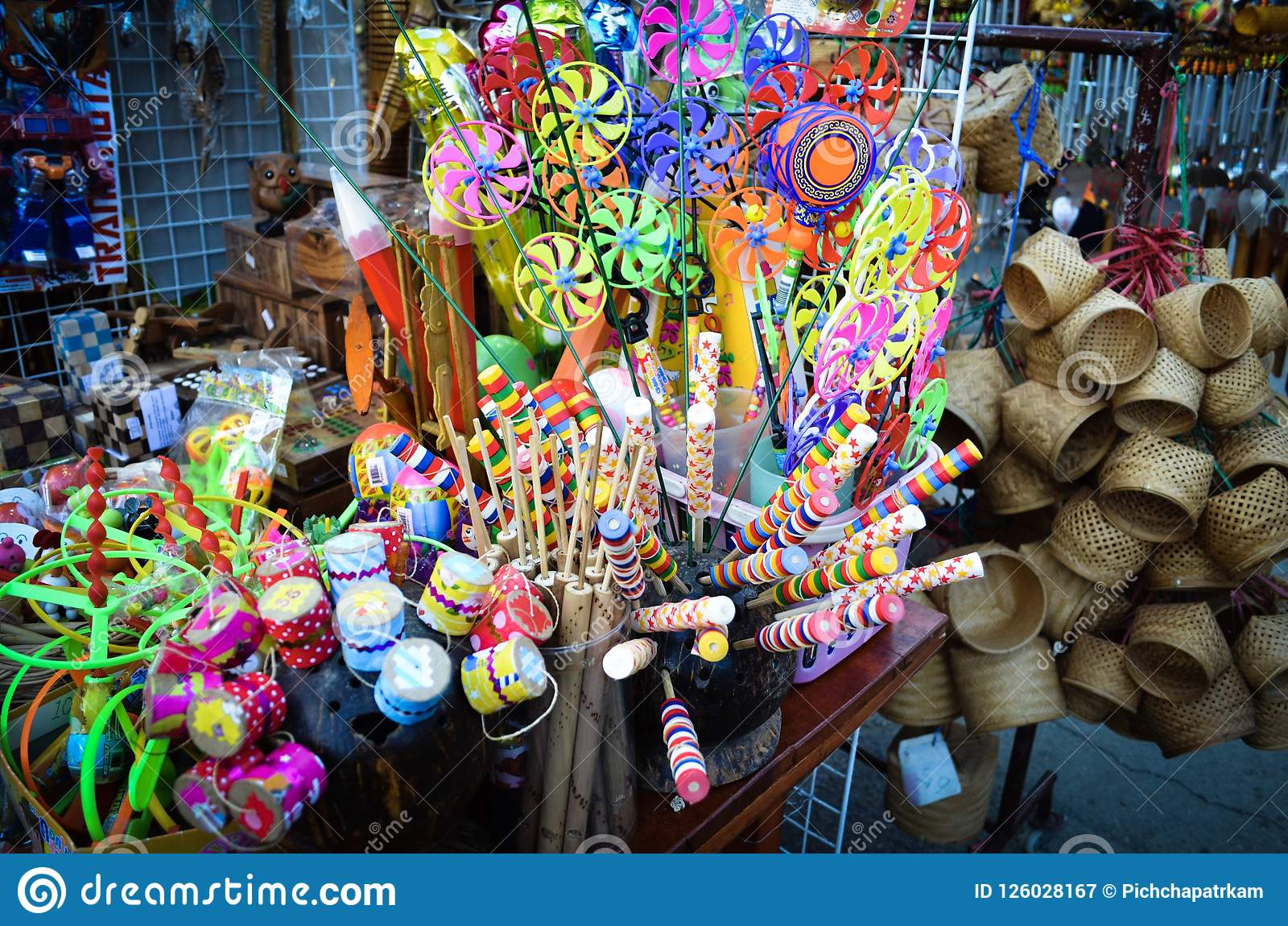 thai traditional toys. editorial photography. image of party