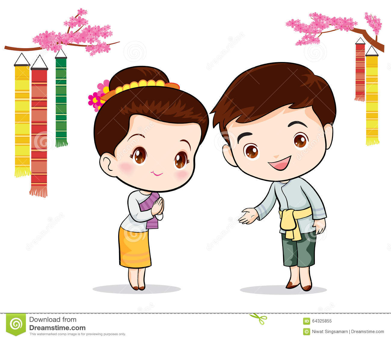 Thai Traditional Welcome Sawasdee Stock Vector Illustration Of