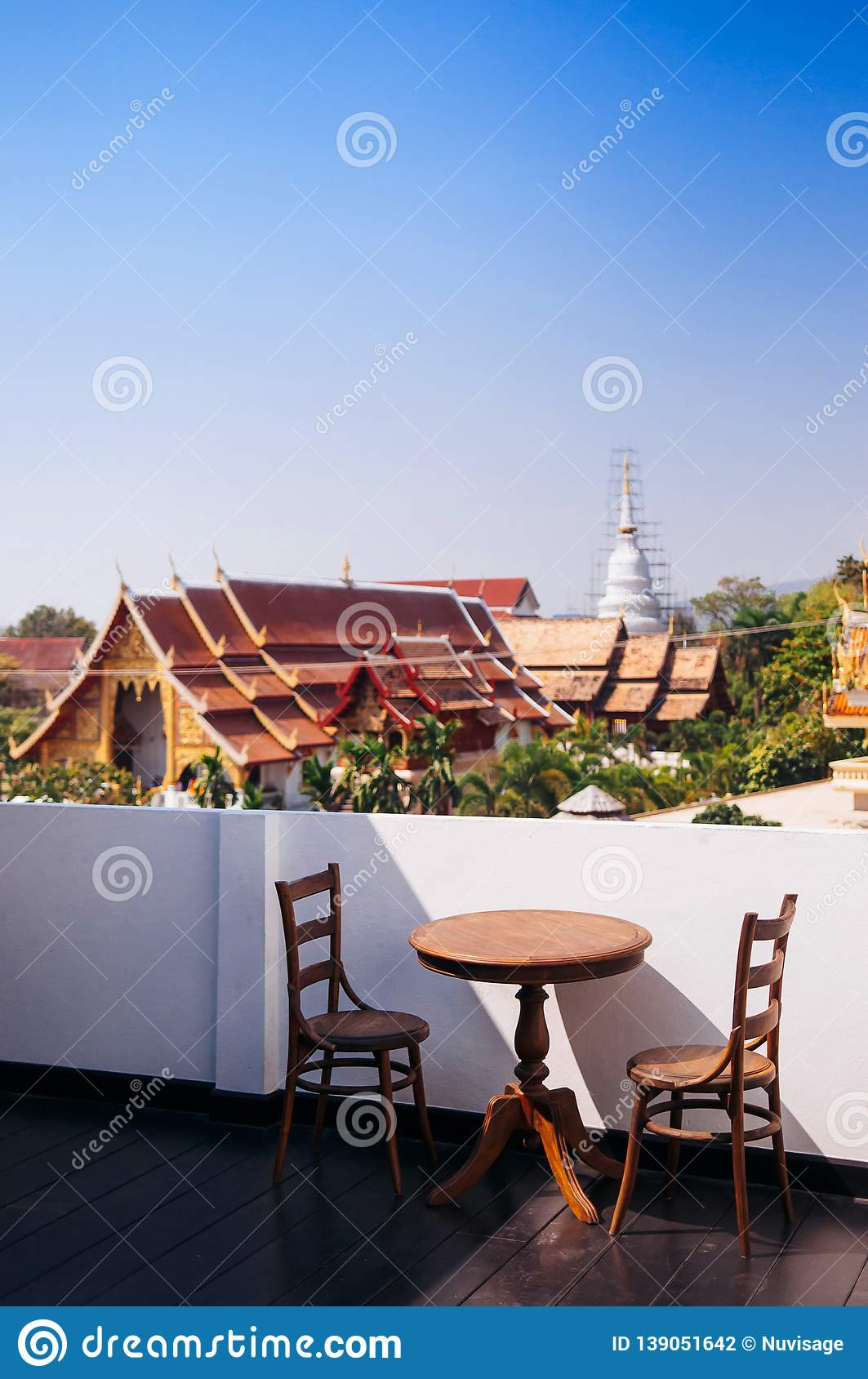 Thai Vintage Wooden Dining Table And Chairs At Outdoor Balcony Editorial Photography Image Of Asian Brown 139051642
