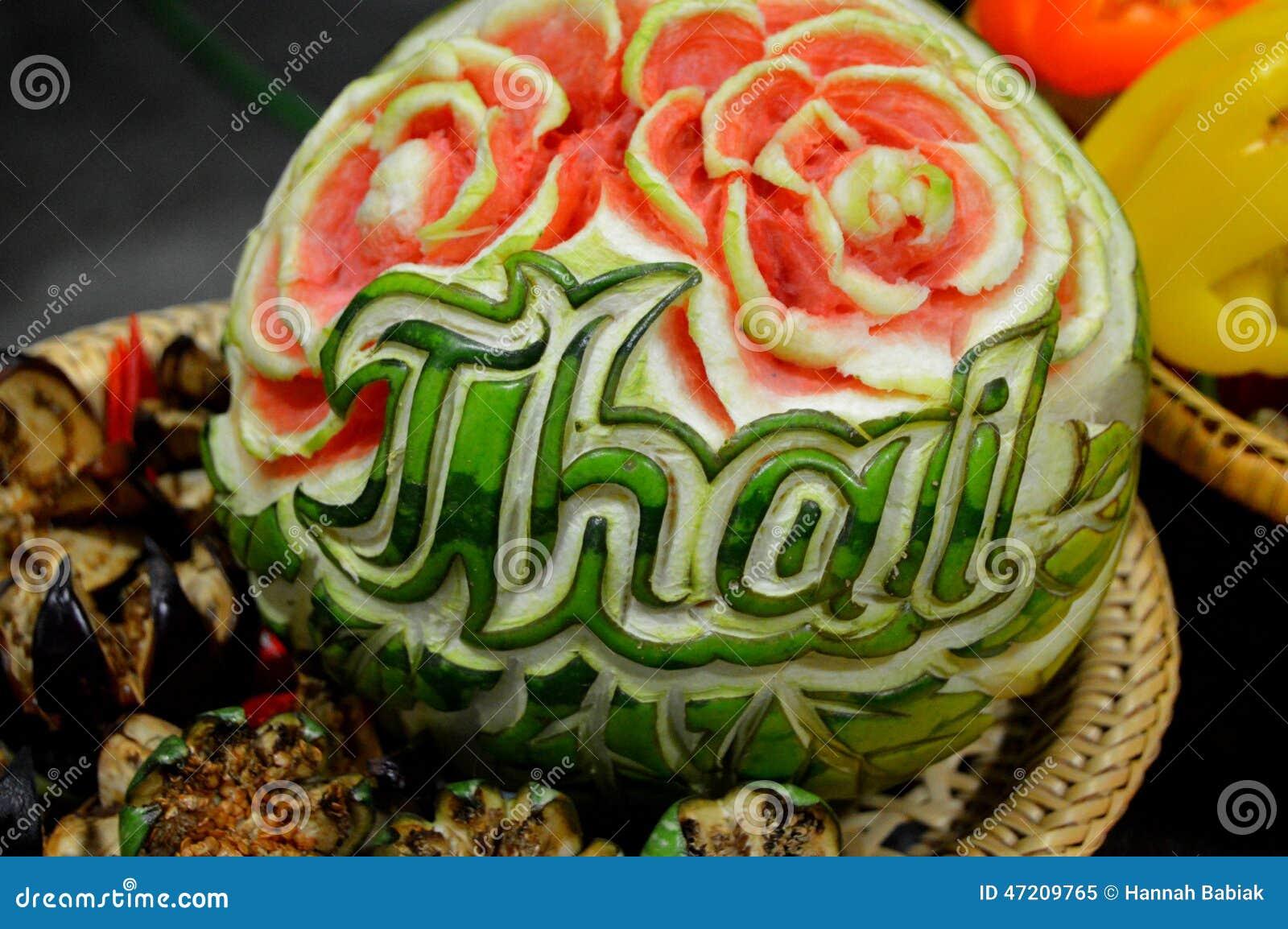 Thai watermelon carving stock photo image