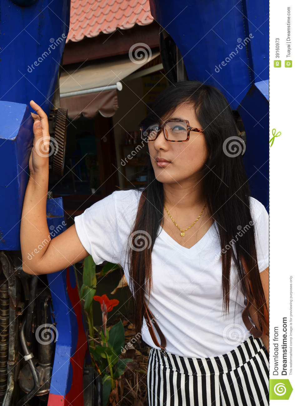 Thai woman Long hair portrait