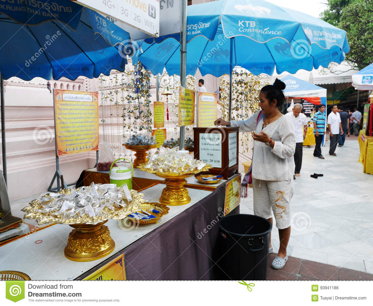 Thai women and travelers people visit and respect pray buddha