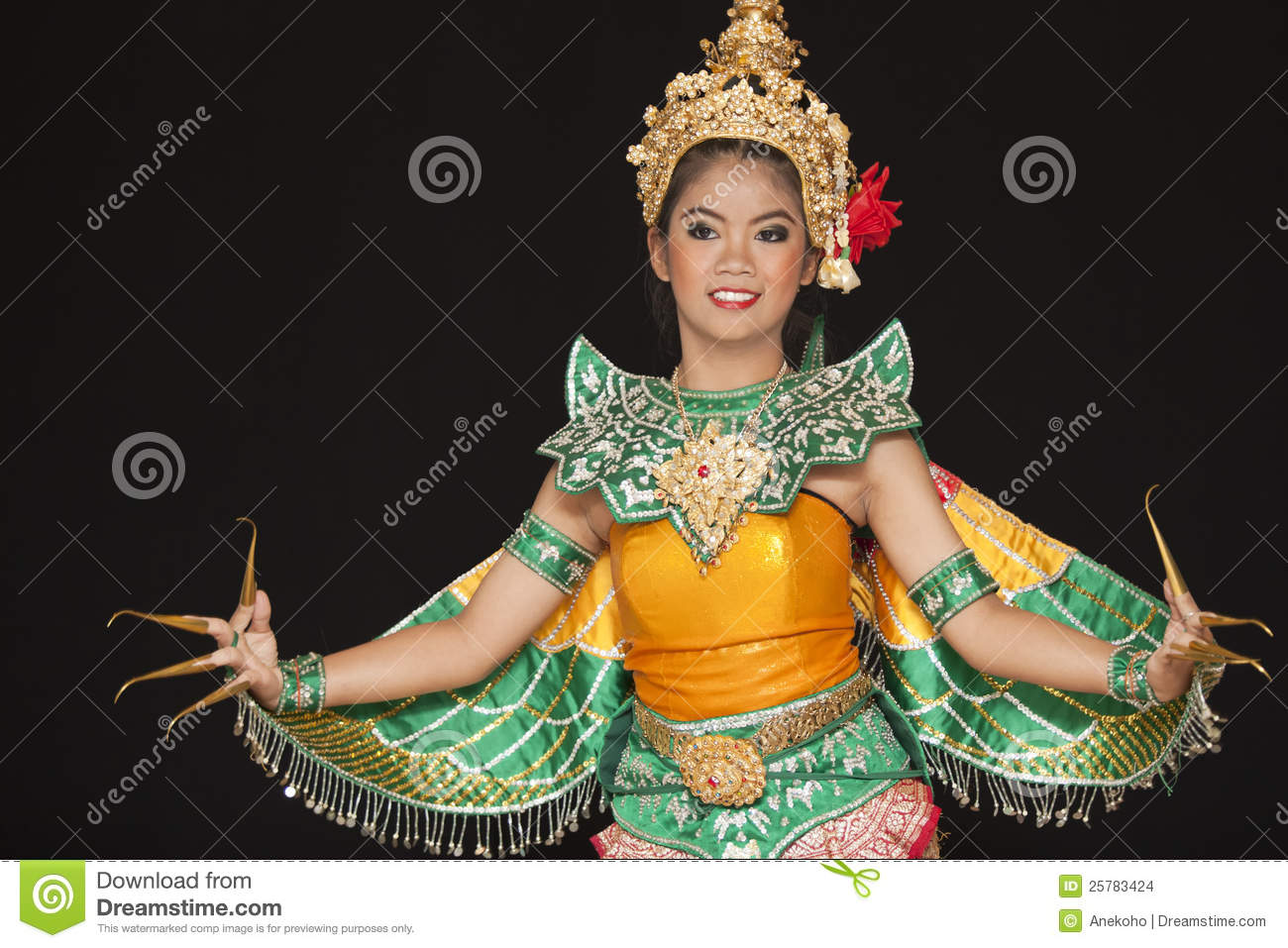 thai young lady in an ancient thailand dance wea editorial