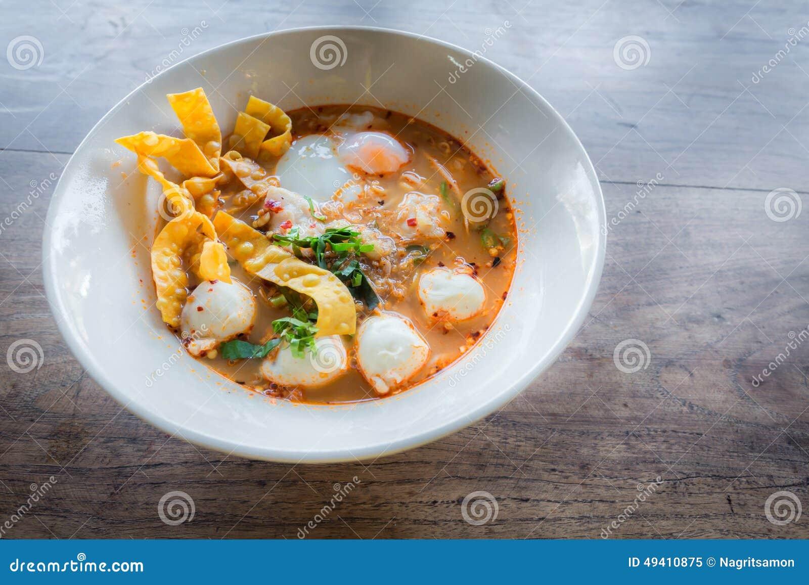 Download Thailändische Art Der Würzigen Suppe Der Schweinefleischnudel, Tom Yum Stockbild - Bild von gesundheit, heiß: 49410875