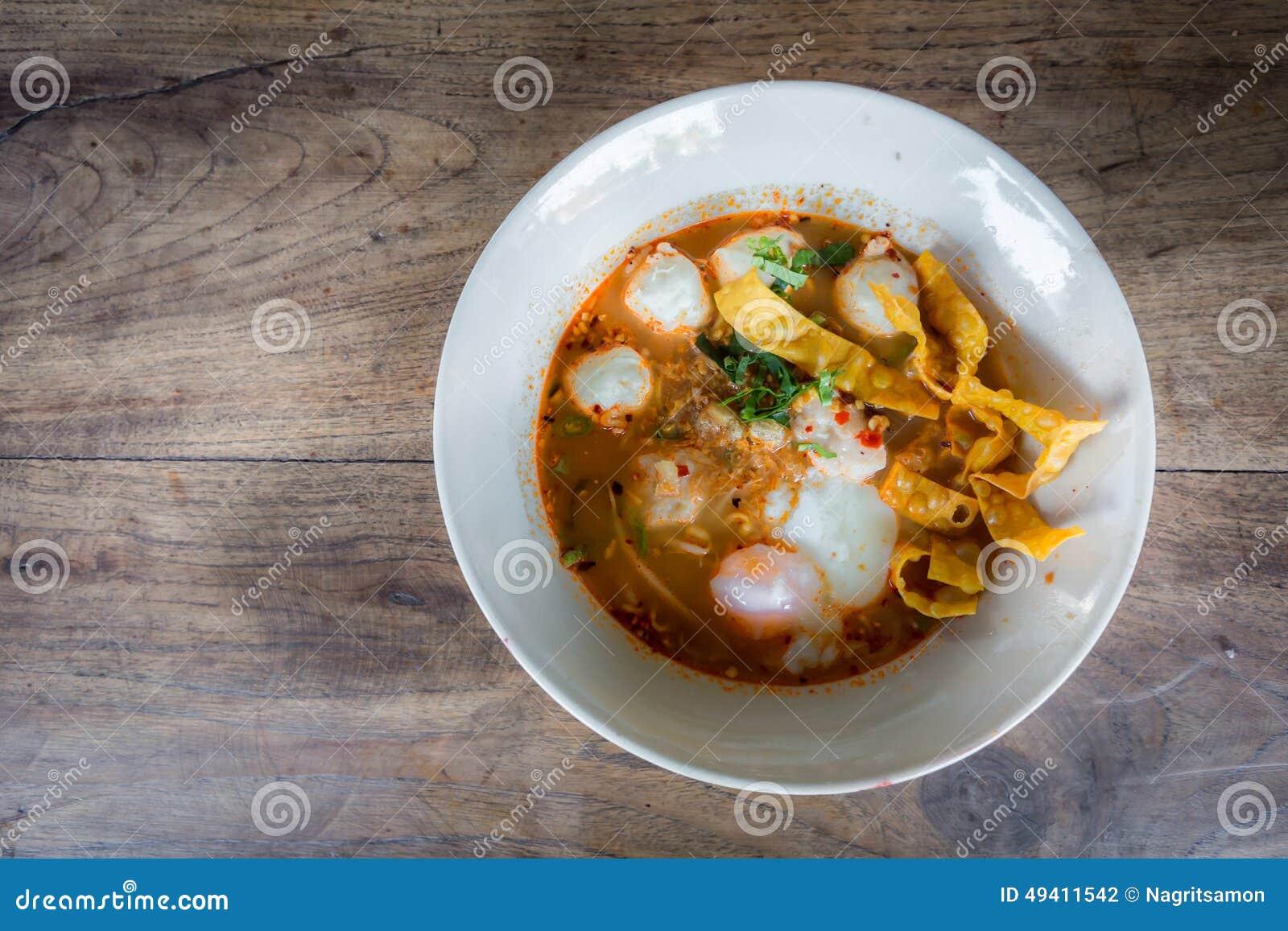 Download Thailändische Art Der Würzigen Suppe Der Schweinefleischnudel, Tom Yum Stockfoto - Bild von abendessen, fleisch: 49411542