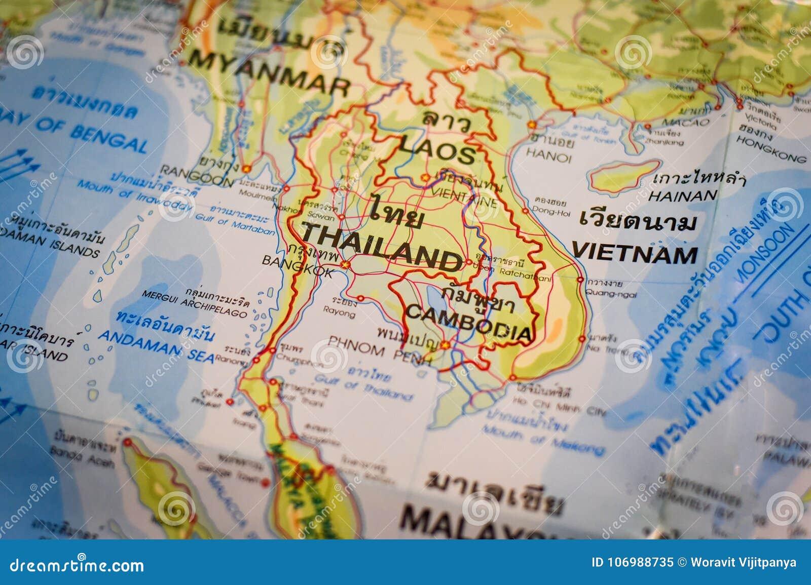 Bangkok Karte.Thailändische Karte Und Asien Karte Stockbild Bild Von Bangkok