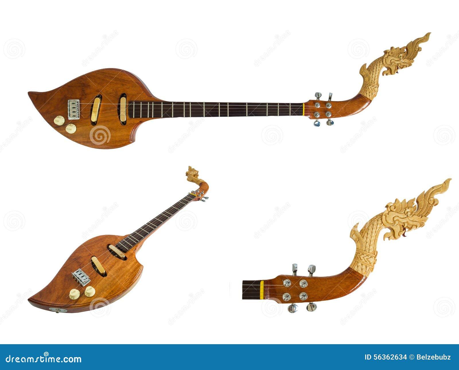 Thailändische Musikinstrumente, elektrischer hölzerner Stift lokalisiert auf weißem Hintergrund Über Weiß