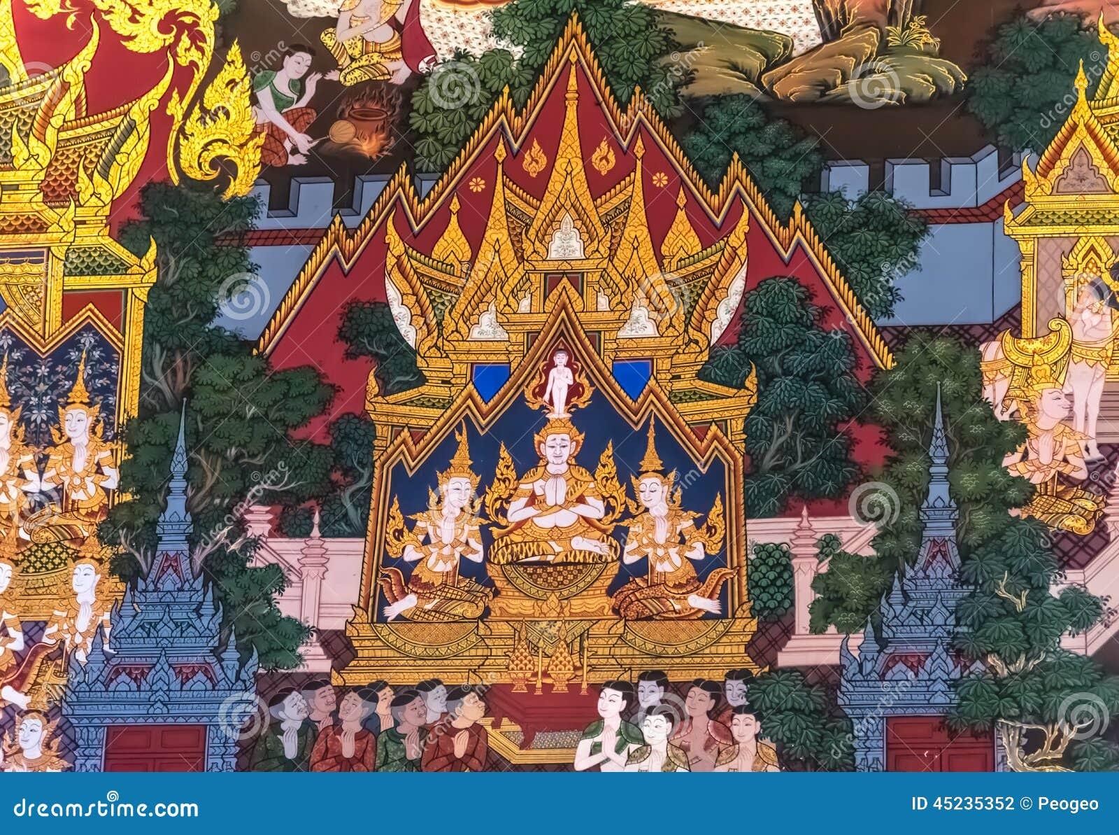 Thailändsk målning: Födelse av Buddha